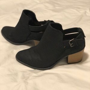 Qupid Black Booties with Buckle